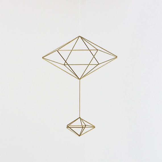 Brass Pendulum Himmeli  / Modern Hanging Mobiles / Geometric Sculpture on Etsy, $92.67 CAD