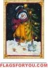 Snowman's Tree` Garden Flag