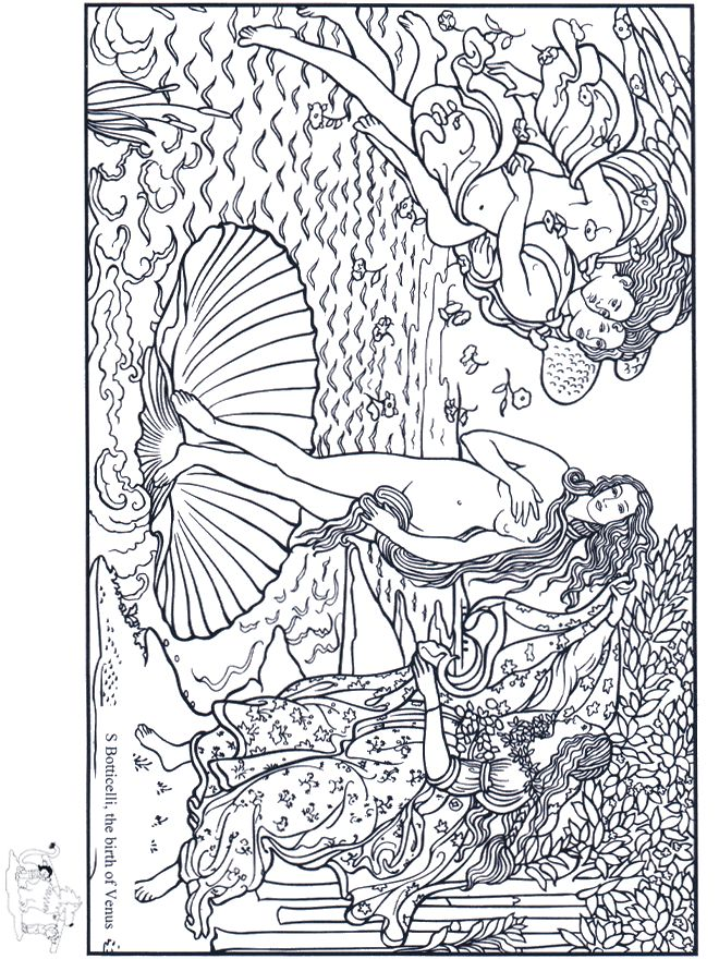 Botticelli's The Birth of Venus coloring page. | Coloring ...