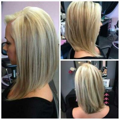 Long Layered Angled Bob Hairstyle