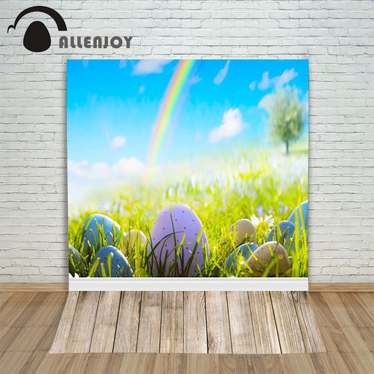 16.73$  Buy here - Allenjoy Easter background eggs Rainbow tree grass blurred dots wood background for photos Photo background  #magazineonlinewebsite