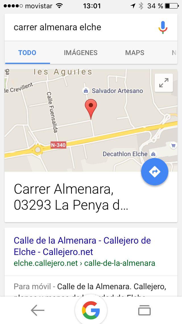 Ubicación y geolocalización tienda en elche,web corporativa www.salvadorartesano.com y app o aplicación móvil para ios y android