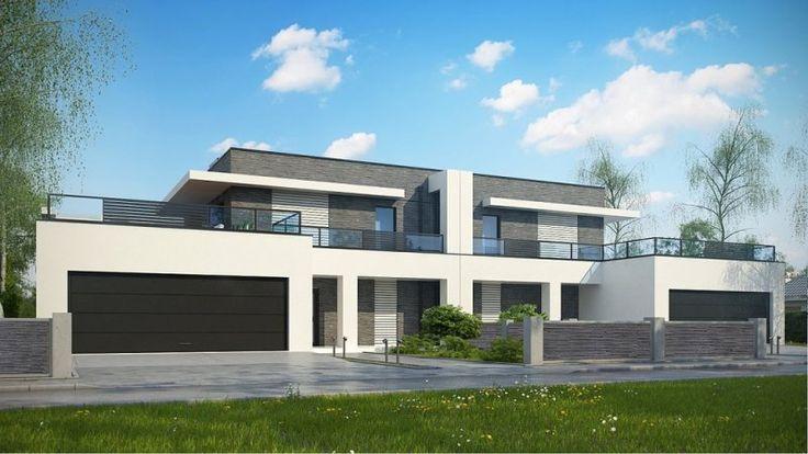 Zb16 to piętrowy dom z garażem dwustanowiskowym. Prosta, nowoczesna bryła została wzbogacona dużymi przeszkleniami, prostymi filarami oraz podcieniami. Płaski dach, jak i surowa kolorystyka elewacji dopełniają całość.