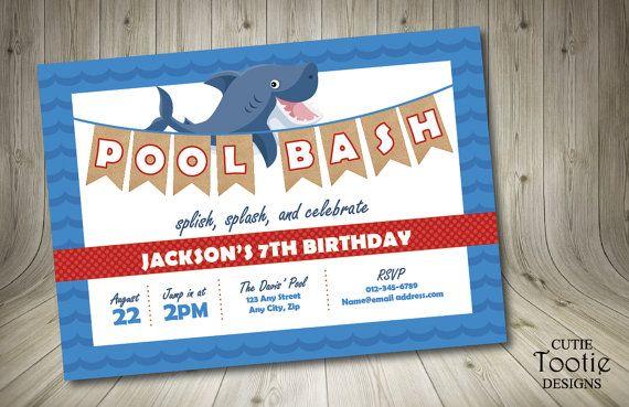 Shark Birthday Invitation  Swim Party Invitation  Happy