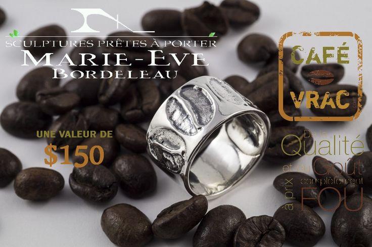Nous avons décidé de gâter nos clients en faisant le tirage d'un superbe jonc, fabriqué sur mesure par Marie-Eve Bordeleau, Sculptures prêtes à porter.  Pour participer, rien de plus facile! Pour chaque achat de 4lb à 9lb effectué entre le 18 août et le 28 septembre, votre nom se retrouvera automatiquement dans le baril. Pour un achat de 10lb et plus, vous aurez une chance supplémentaire! #Café #bijoux Pour + d'infos www.facebook.com/cafevrac