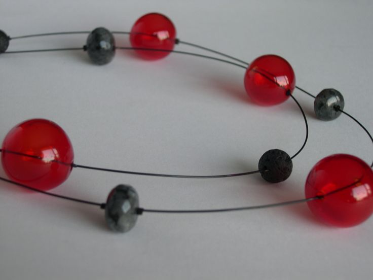 modern red bubble necklace