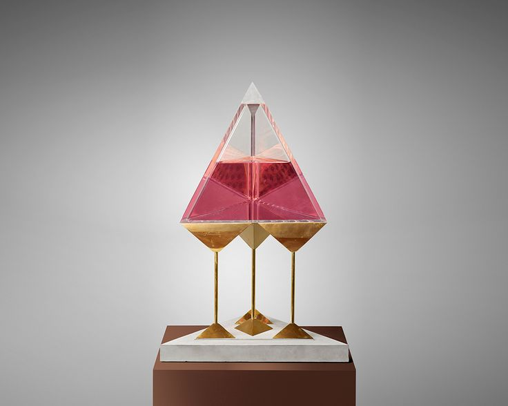YARISAL & KUBLITZ, HOLY TRIP (2014) - casted brass, LSD stamps, acrylic glass, dyed water, concrete