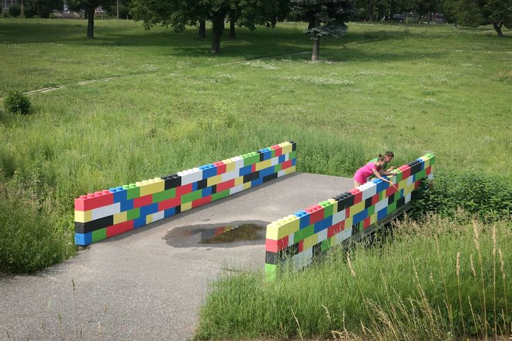 lego bridge in lodz, poland by blaga cho.: Street Art, Ania Binczyk, Blaga Cho, Bridge, Photo, Lego, Poland, Streetart