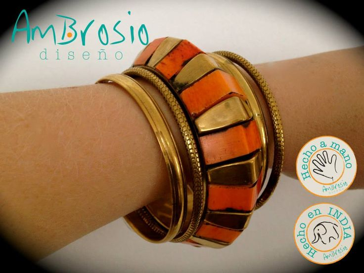 Gold and Orange Bracelet Brass Bracelet - Small Size Handmade $17.00
