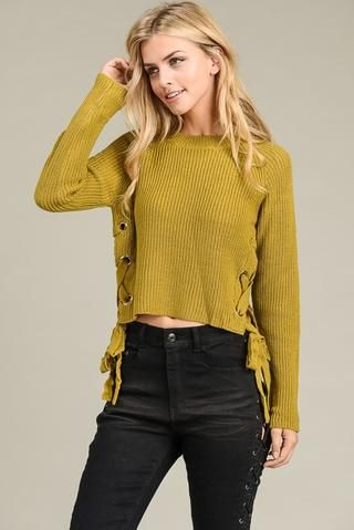 Buckle-Sleeve Top Mustard knit a must!