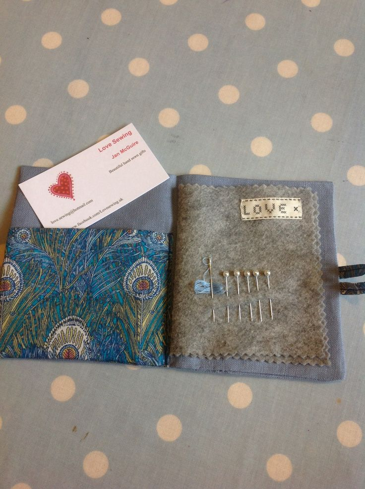 Beautiful liberty print and linen needle case by Jan McGuire, Love Sewing