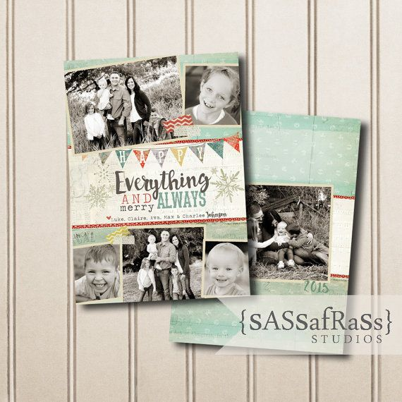 Christmas Card Template PHOTOSHOP TEMPLATE: by SassafrassStudios