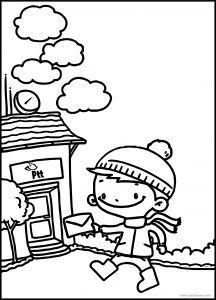 Meraklı Minik Postane Boyama Sayfası Meraklı Minik Postane Boyama