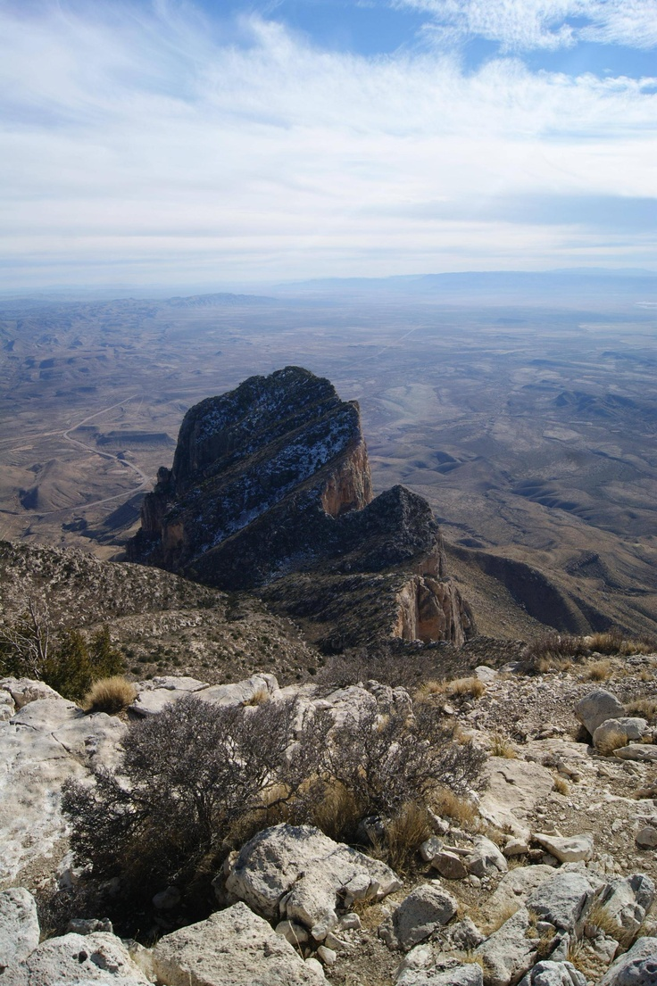 This is the view of El Capitan from the Guadalupe Peak trail , Guadalupe National Park, Texas, done in the snow December 2011