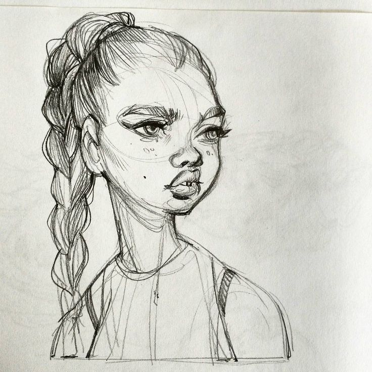 Fashion Girl Face Sketch