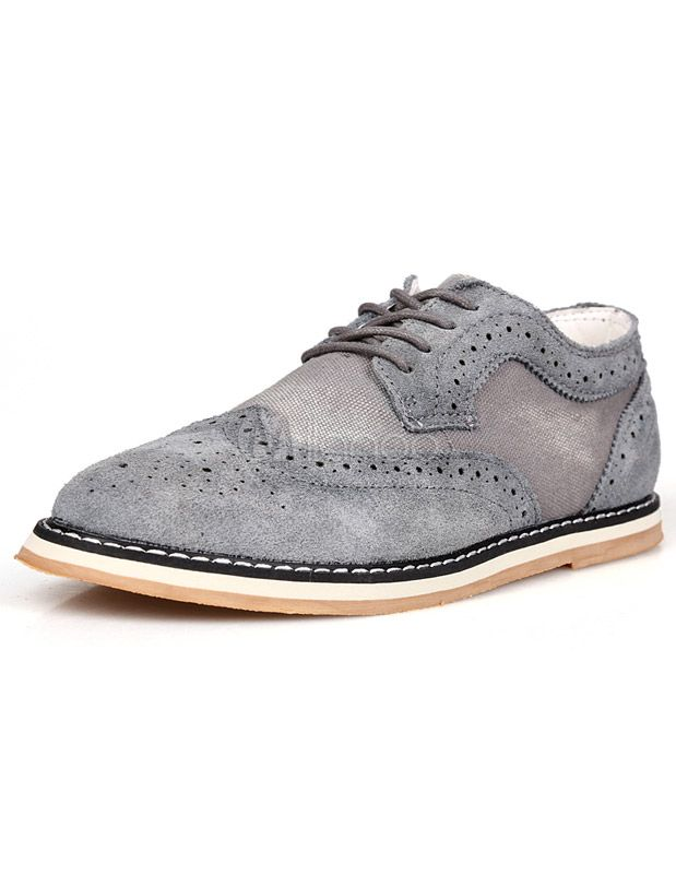 Gray Round Toe Lace Up Monogram Suede Stylish Man's Casual Shoes -  Milanoo.com