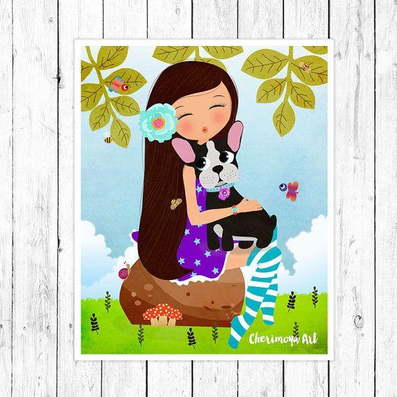 Френчи французский Бульдог собака стены искусства девушка и собака печать Френчи иллюстрации ясли Декор питомник стены искусства дети малыш подарок