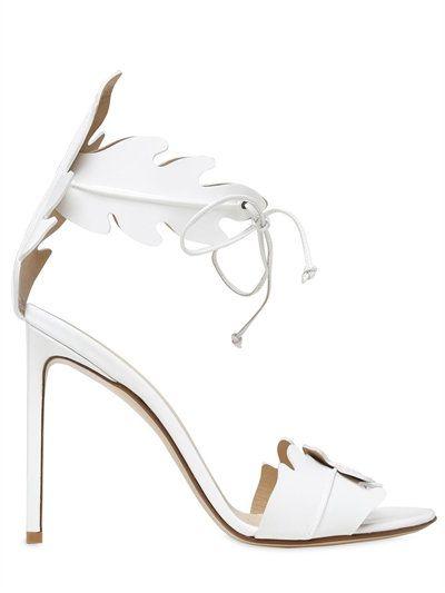 FRANCESCO RUSSO 105MM LEAF PATENT LEATHER SANDALS, WHITE. #francescorusso #shoes #sandals