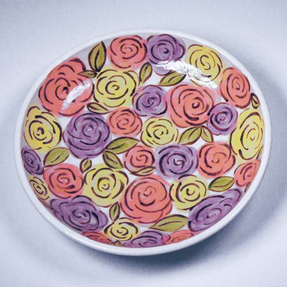 Hand painted Bowl of Roses