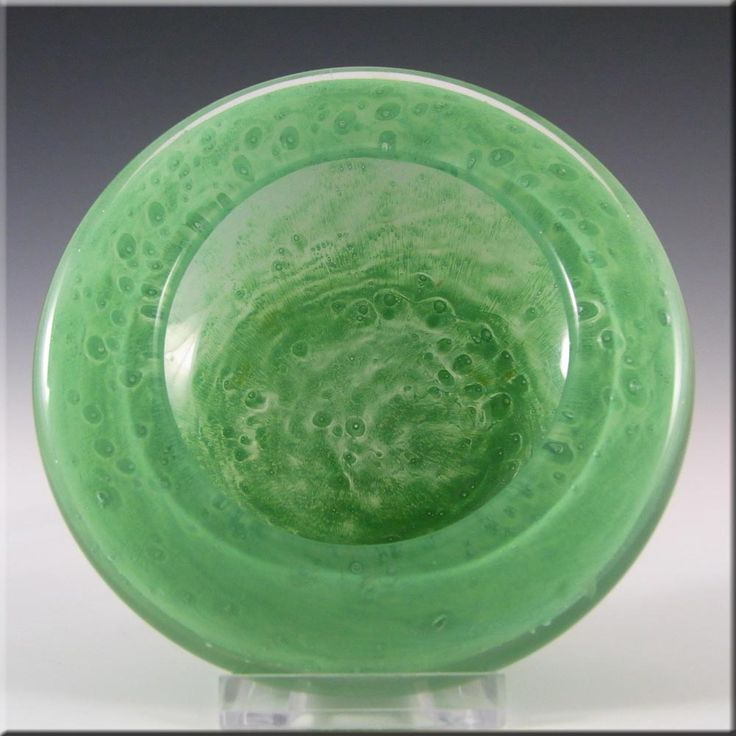 Stevens + Williams or Nazeing Clouded Green Glass Bowl - £30.00