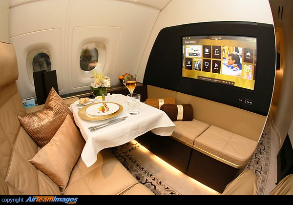 The Residence by Etihad fitted onboard Etihad's Airbus A380 aircraft. The Residence includes a living room, separate double bedroom and en-suite shower. Passengers also have access to a Savoy Academy-trained butler, gourmet chef and concierge.