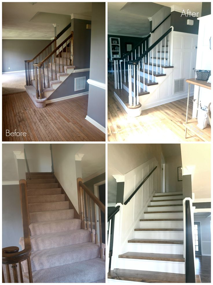 DIY carpet to wood staircase makeover with a tutorial on how to make you own stairtreads