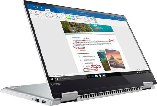 """Lenovo - Yoga 720 2-in-1 15.6""""Touch-Screen Laptop - Intel Quad Core i7 - 8GB Memory - 256GB Solid State Drive - Platinum Silver - Angle"""
