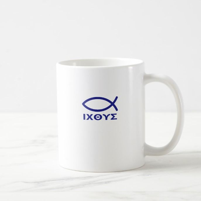 Jesus Fish Ichtus And Mag Coffee Mug Custom Office Supplies Business Logo Branding