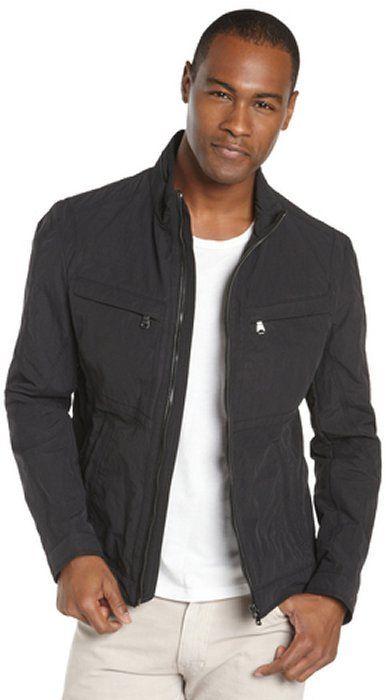 HUGO BOSS black textured nylon bomber jacket on shopstyle.com