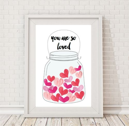 Jar Of Hearts Print by Bespoke Moments. Worldwide Shipping Available.