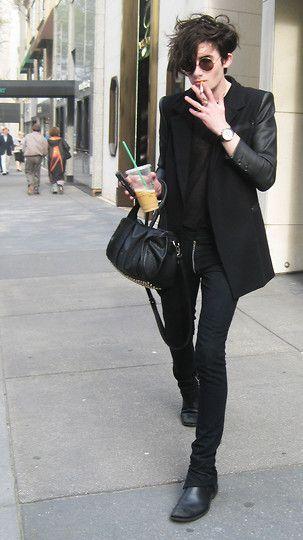 all black blazer, shirt, jeans, shoes