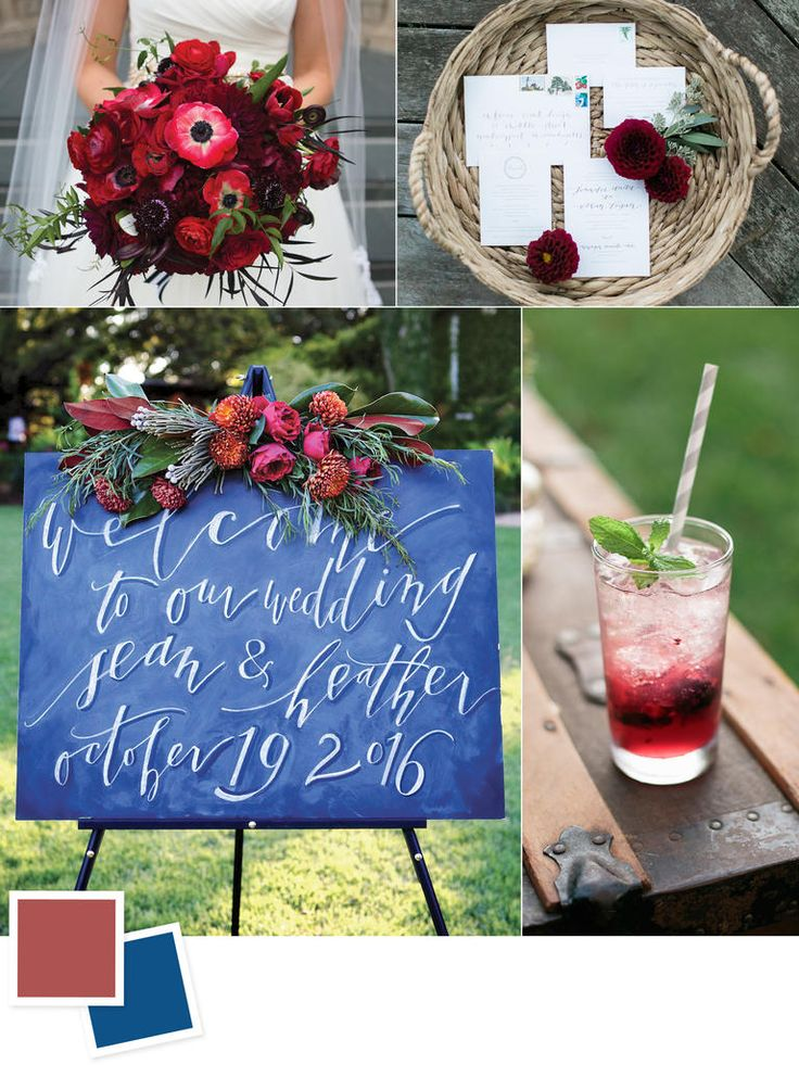 Marsala and midnight wedding colors - so many pretty color palettes on this post!