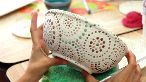 Dotted bowl I love this design but I want to use bold, bright colors. Some bright blues, green, yellows, reds, oranges...