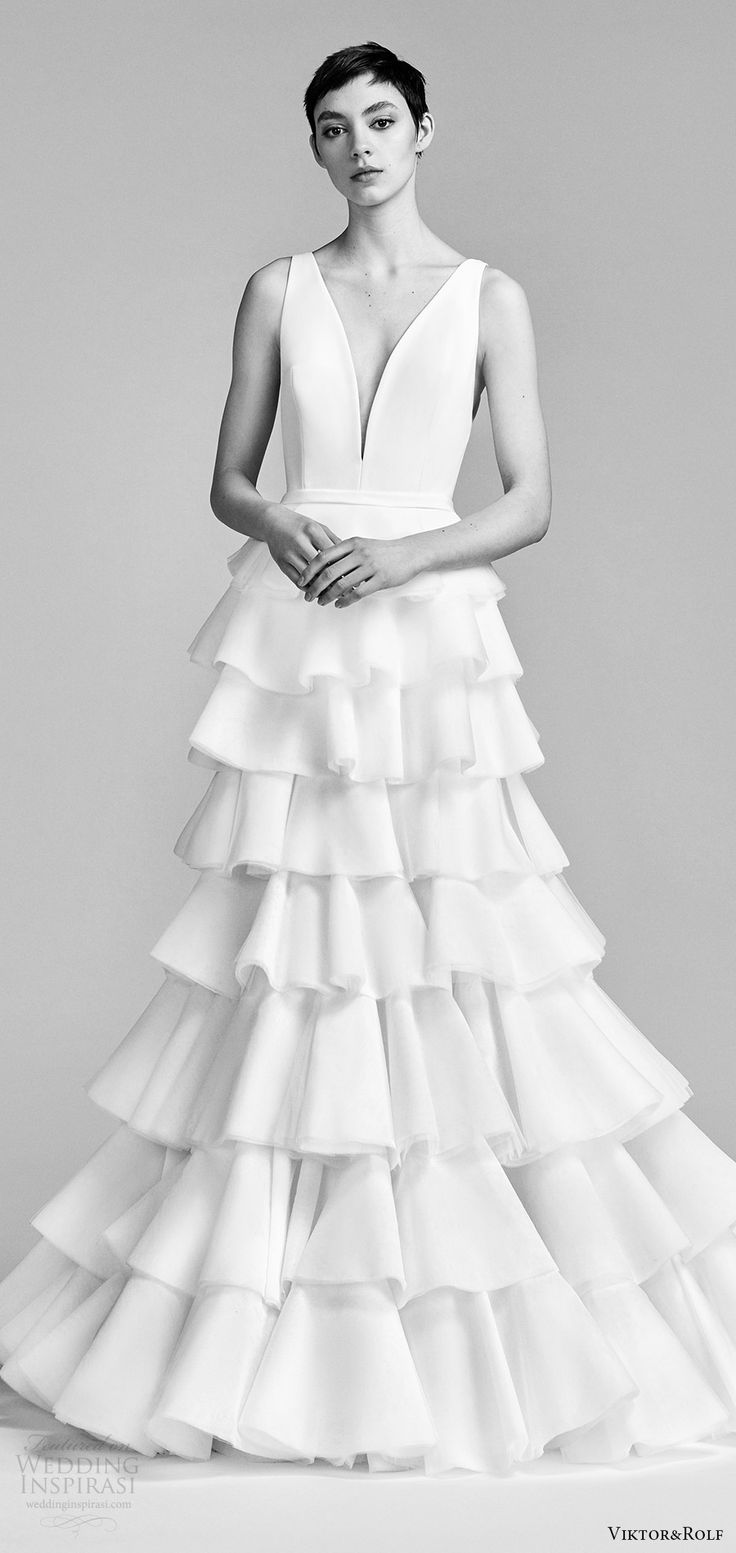 viktor and rolf spring 2018 bridal sleeveless v neck trumpet wedding dress ruffle tiered skirt (17) mv modern romantic -- #ruffle #weddingdress