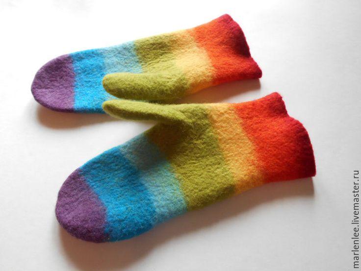 """Mittens, fingerless gloves, handmade gloves. Купить Варежки """"Радуга""""валяные - варежки ручной работы, варежки, варежки из шерсти, варежки валяные"""