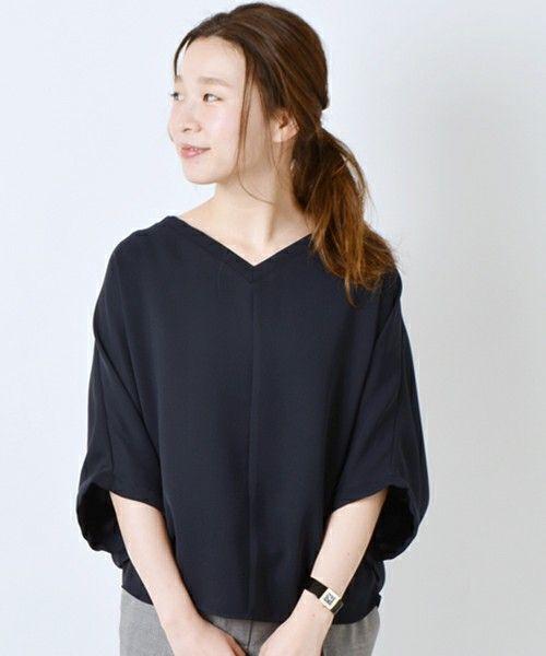 SHIPS for women dress(シップスフォーウィメンドレス)の《予約》2WAYドルマンブラウス◆(シャツ/ブラウス)|ネイビー