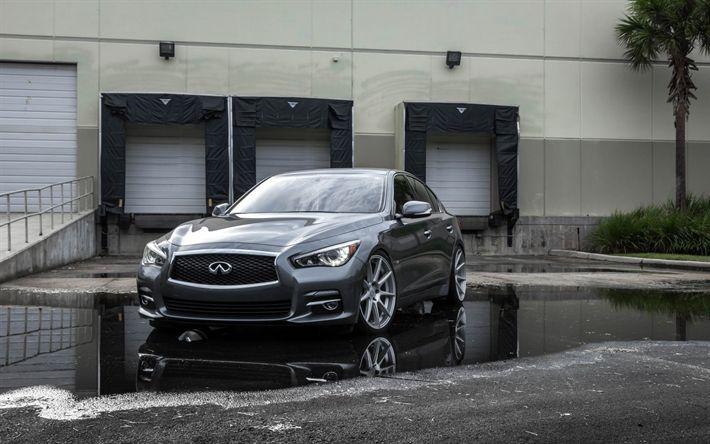 Download wallpapers Infiniti Q50, 2018, gray sports sedan, gray Q50, Japanese cars, front view, Infiniti