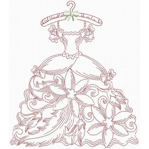 Victorian Wardrobe Redwork - that could also be quilled