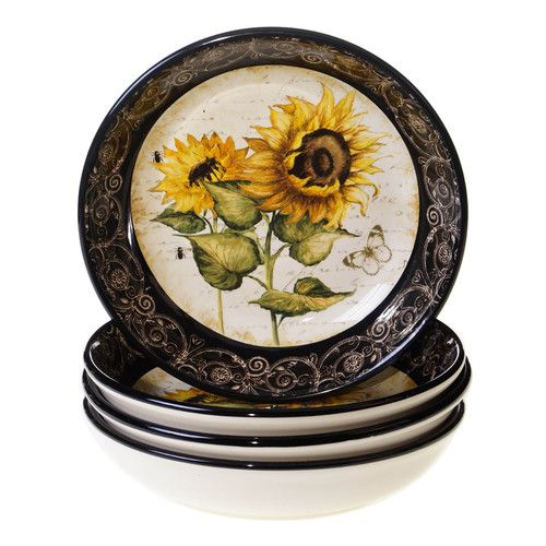 Certified International French Sunflowers Soup / Pasta Bowl