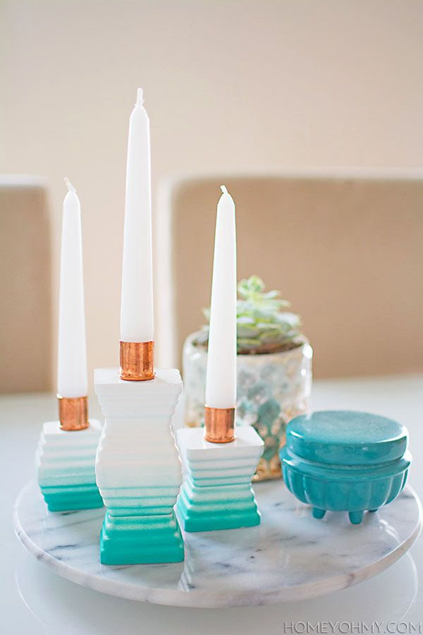 DIY Ombre Cement Candle Holders - made with an ice tray!