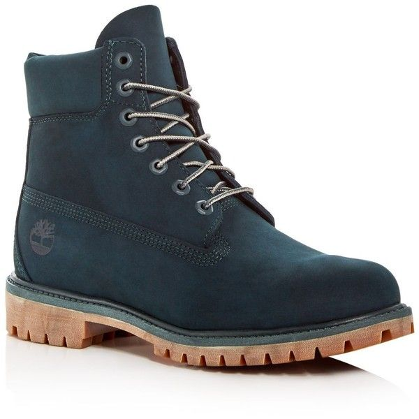 Timberland Men's Premiere Waterproof Nubuck Leather Hiking Boots ($190) ❤ liked on Polyvore featuring men's fashion, men's shoes, men's boots, dark green, mens boots, mens shoes, mens nubuck shoes, mens waterproof hiking boots and mens waterproof shoes