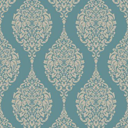 Home of colour damask stripe wallpaper teal at homebase for Wallpaper homebase green
