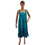 "Womens Skirt Cotton Didger Blue Multi Wear Long Spaghetti Smocked Dress 36"" (Apparel)  #Dress"