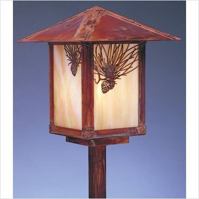 """Arroyo Craftsman ESP-9F Evergreen 9"""" Outdoor Post Lantern with Filigree by Arroyo Craftsman. $356.00. Arroyo Craftsman ESP-9F Features: -Evergreen collection. -Available in several finishes. -Available in several shade colors. -Available filigree in Pine Needle, Hummingbird and Sycamore. -UL listed. -Suitable in wet location. Specifications: -Accommodates: 1 x 100W A-19 incandescent bulb. -Stem: 11.13"""" H x 1"""" W x 1"""" D. -Overall dimensions: 21.5"""" H x 9"""" W. Note: Arroyo Craftman it..."""