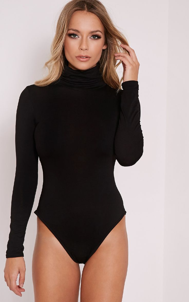 Basic Black Roll Neck Long Sleeve Bodysuit Image 3
