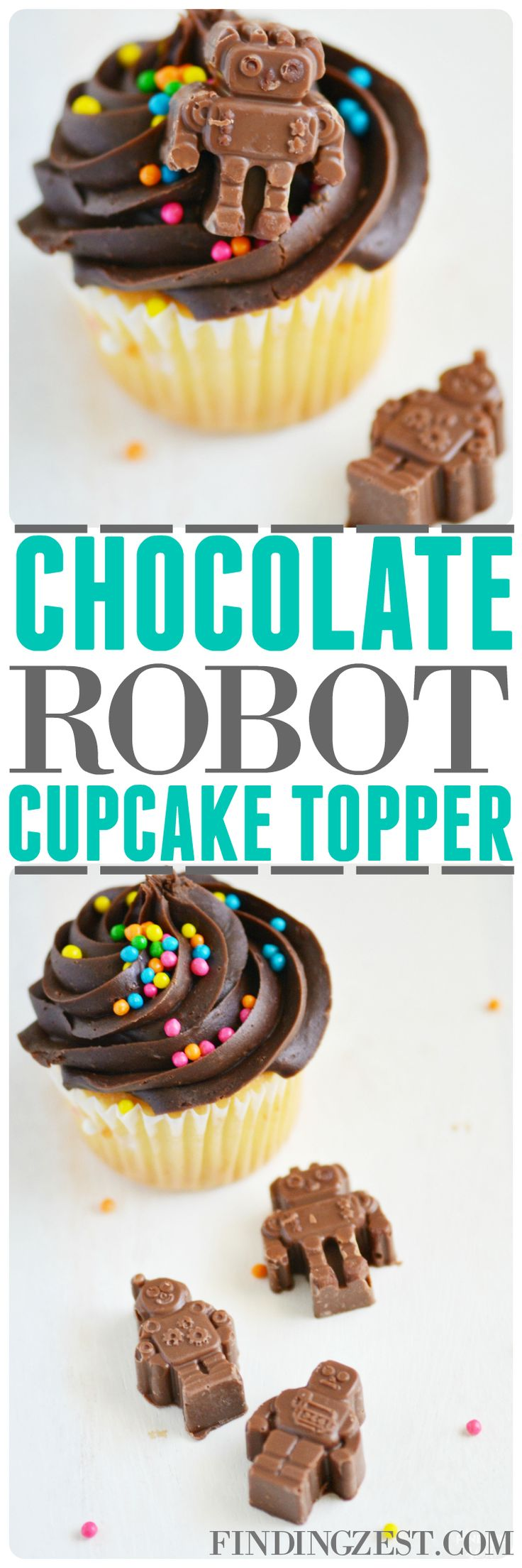 Making your own chocolate robot cupcake topper is super fun and easy! Perfect for just because or a robot birthday party celebration! They also work great for robot party favors. Yum!