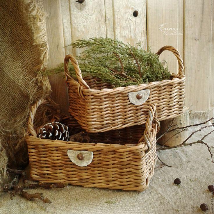 Купить Корзиночки плетеные для уюта (2 шт.) - корзиночки плетеные, корзинки для хранения