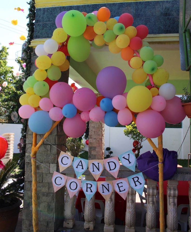 Colorful baloons for candy corner candyland candyworld theme party candy corner stand