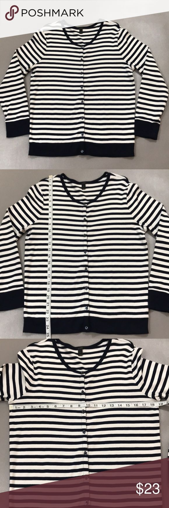 J. Crew Cardigan Pre-Owned J. Crew Navy Blue and White Cardigan 100% Cotton Great Condition J. Crew Sweaters Cardigans