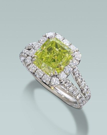 I've wanted this ring for years!!! Vivid Green Diamond ring   Turgeon Raine Jewellers – Engagement Rings Fine Gemstones Gold Platinum Designer Jewelry